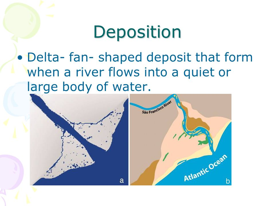 Deposition Delta- fan- shaped deposit that form when a river flows into a quiet or large body of water.