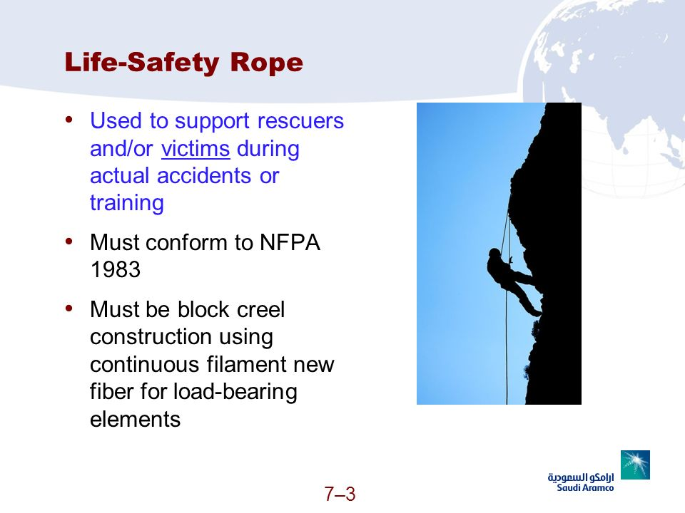 Life-Safety Rope Used to support rescuers and/or victims during actual accidents or training. Must conform to NFPA 1983.