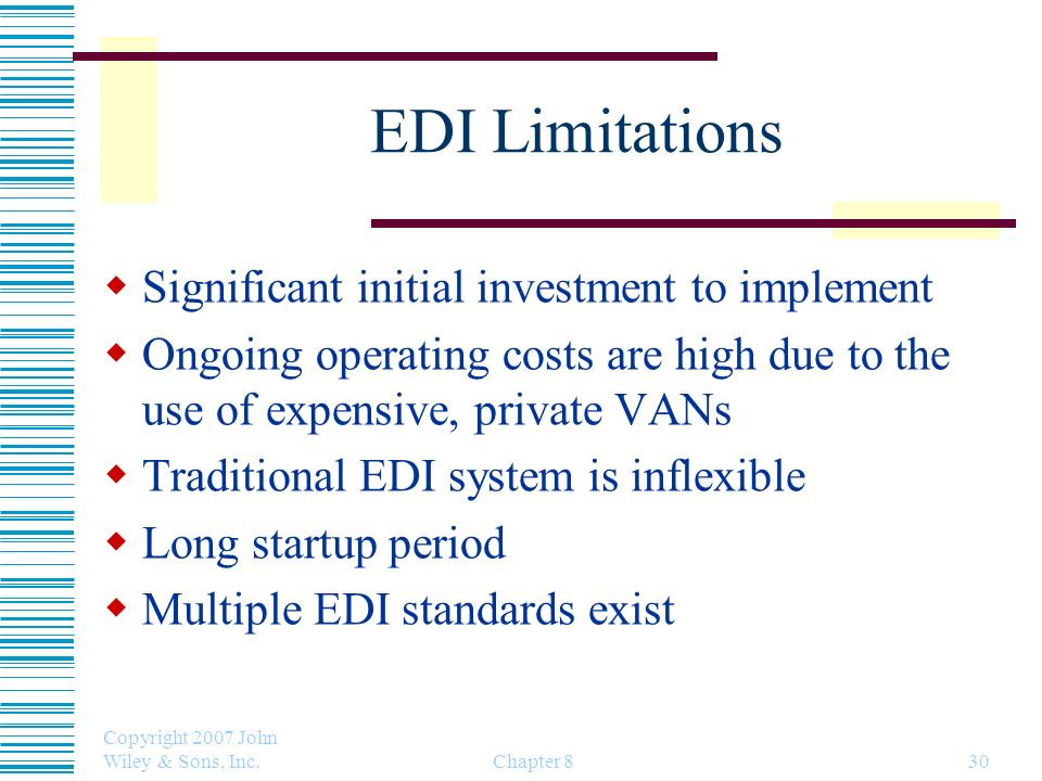 EDI Limitations Significant initial investment to implement