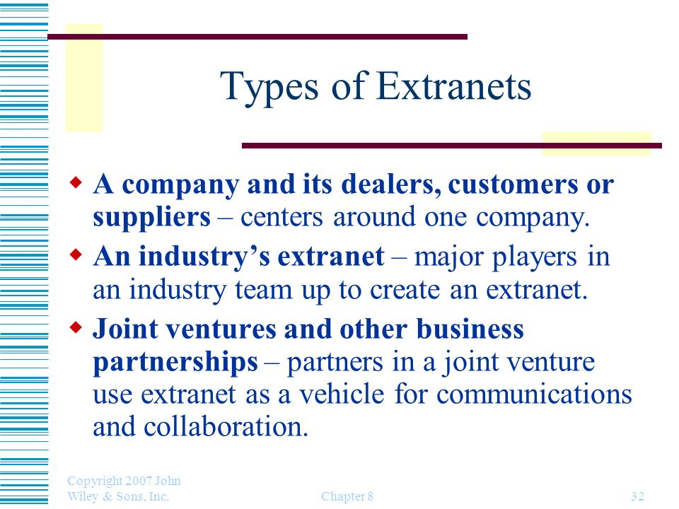 Types of Extranets A company and its dealers, customers or suppliers – centers around one company.