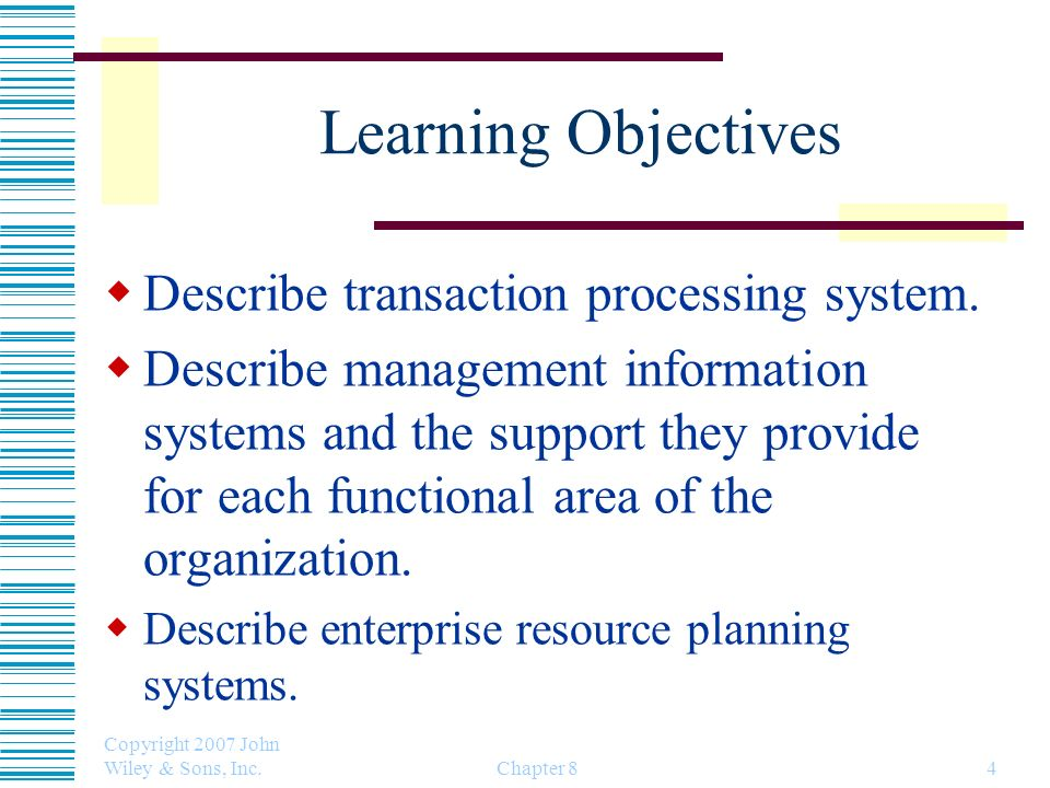 Learning Objectives Describe transaction processing system.