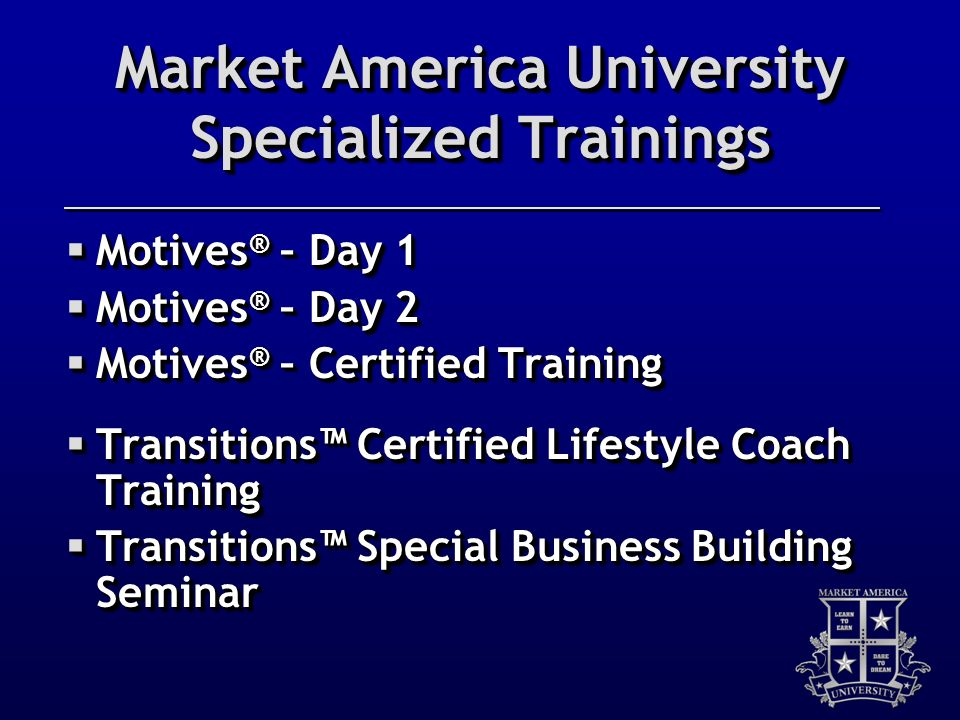 Market America University Specialized Trainings