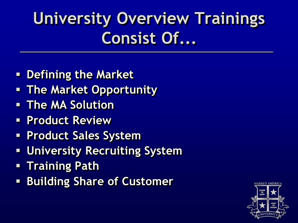 University Overview Trainings Consist Of...