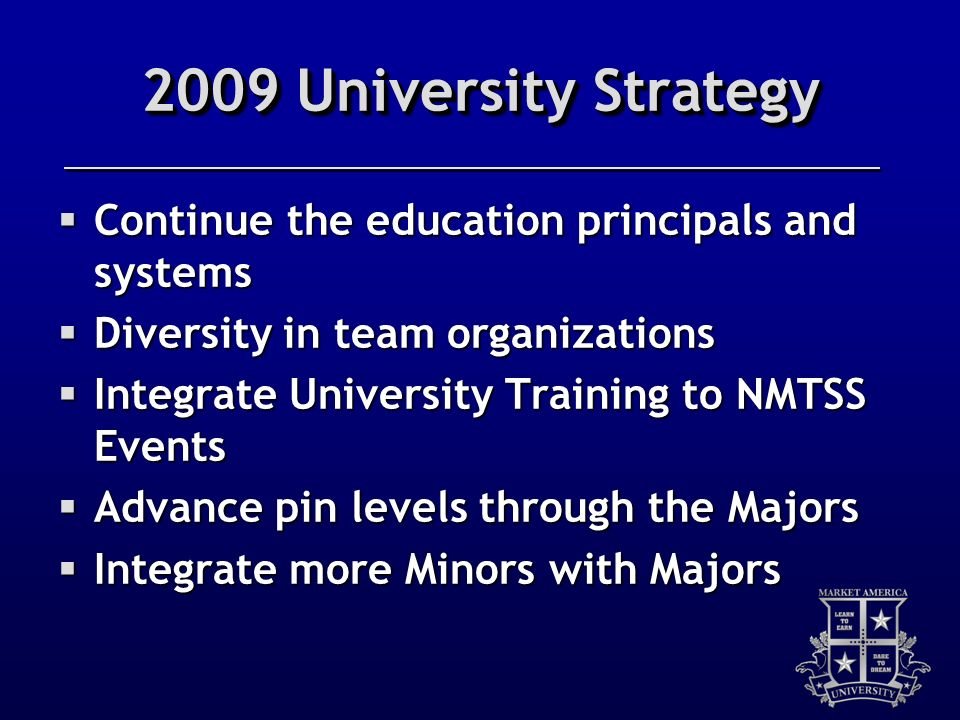 2009 University Strategy Continue the education principals and systems