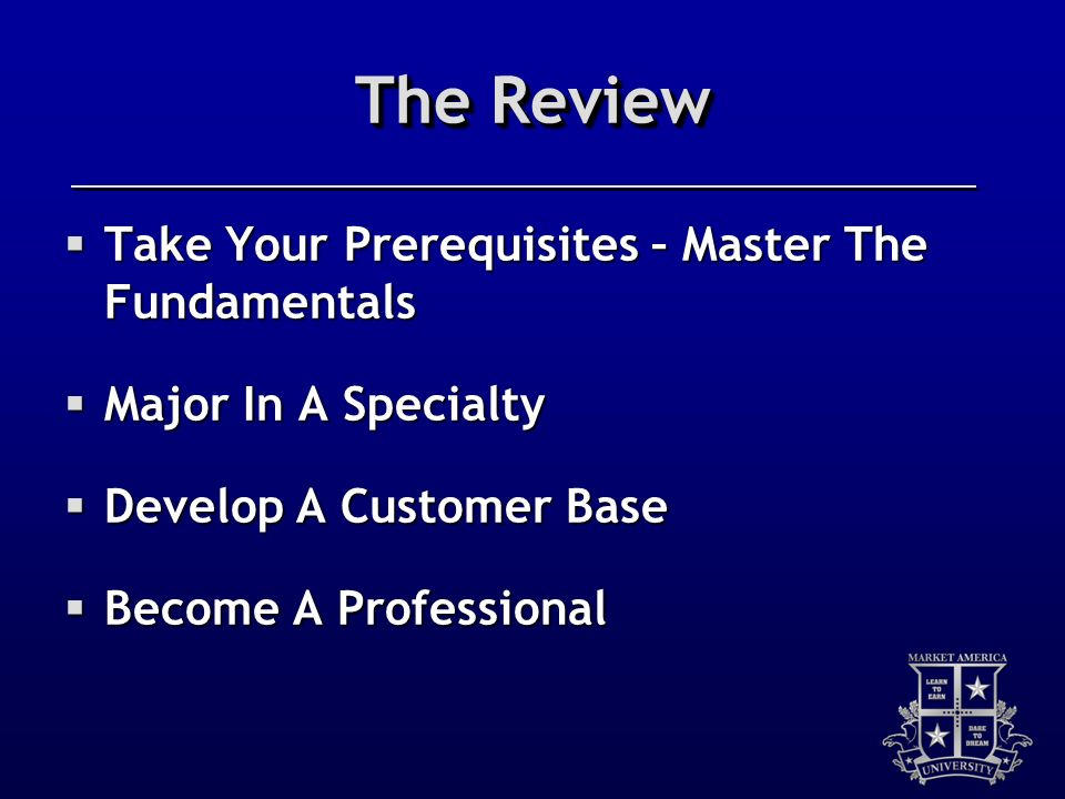The Review Take Your Prerequisites – Master The Fundamentals