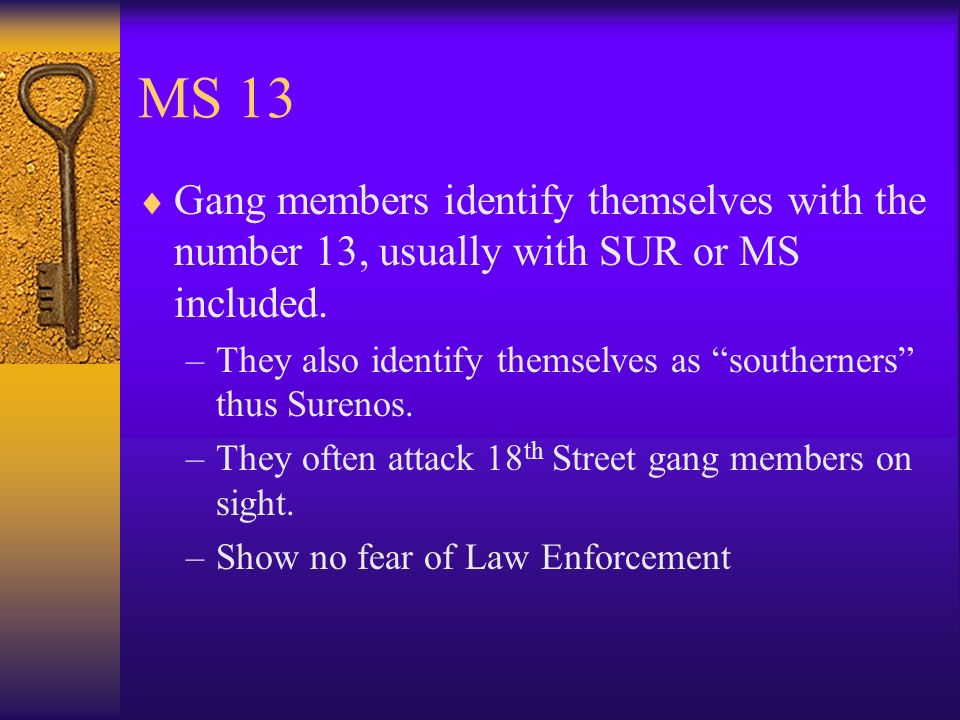 MS 13 Gang members identify themselves with the number 13, usually with SUR or MS included.