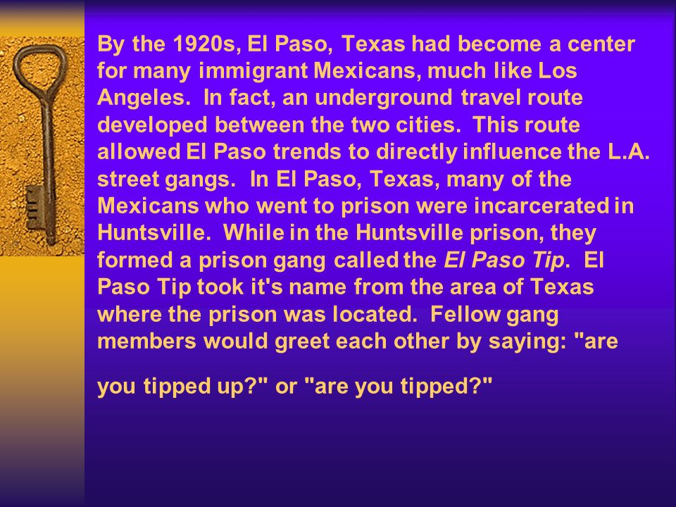 By the 1920s, El Paso, Texas had become a center for many immigrant Mexicans, much like Los Angeles. In fact, an underground travel route developed between the two cities. This route allowed El Paso trends to directly influence the L.A.