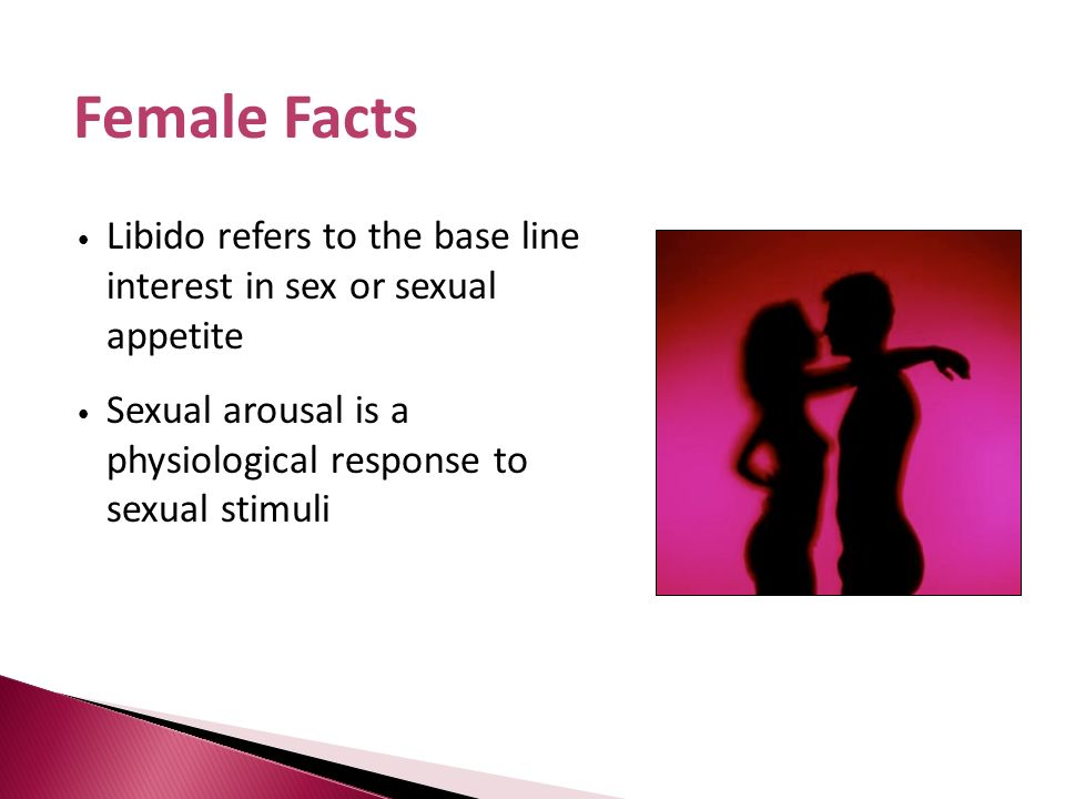 Female Facts Libido refers to the base line interest in sex or sexual appetite.