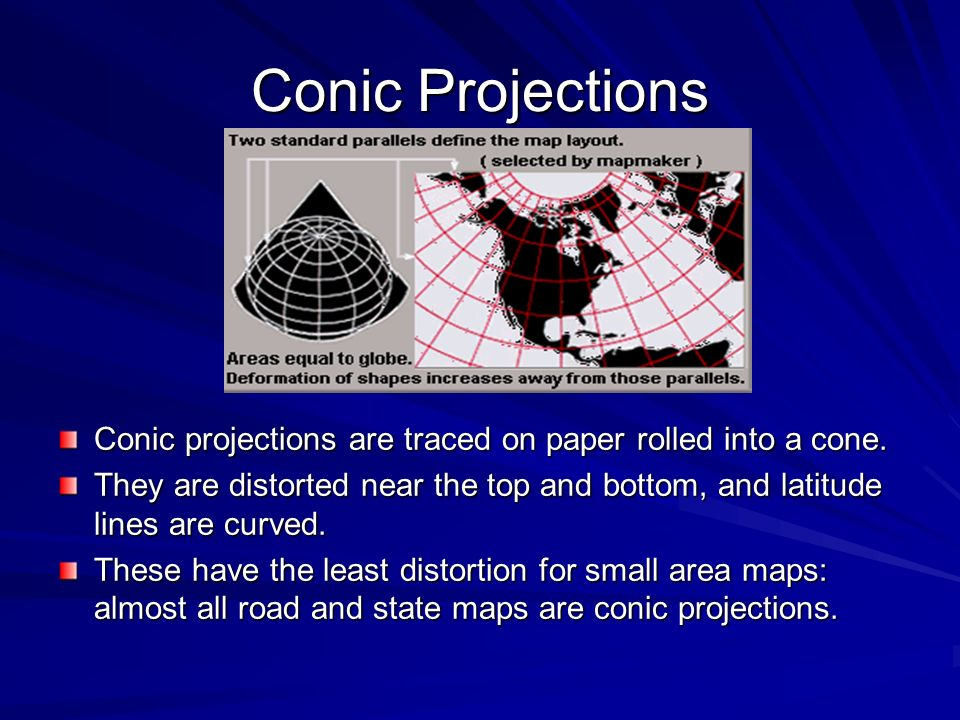 Conic Projections Conic projections are traced on paper rolled into a cone.