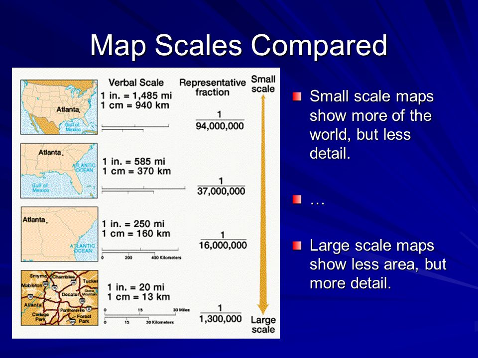 Map Scales Compared Small scale maps show more of the world, but less detail.