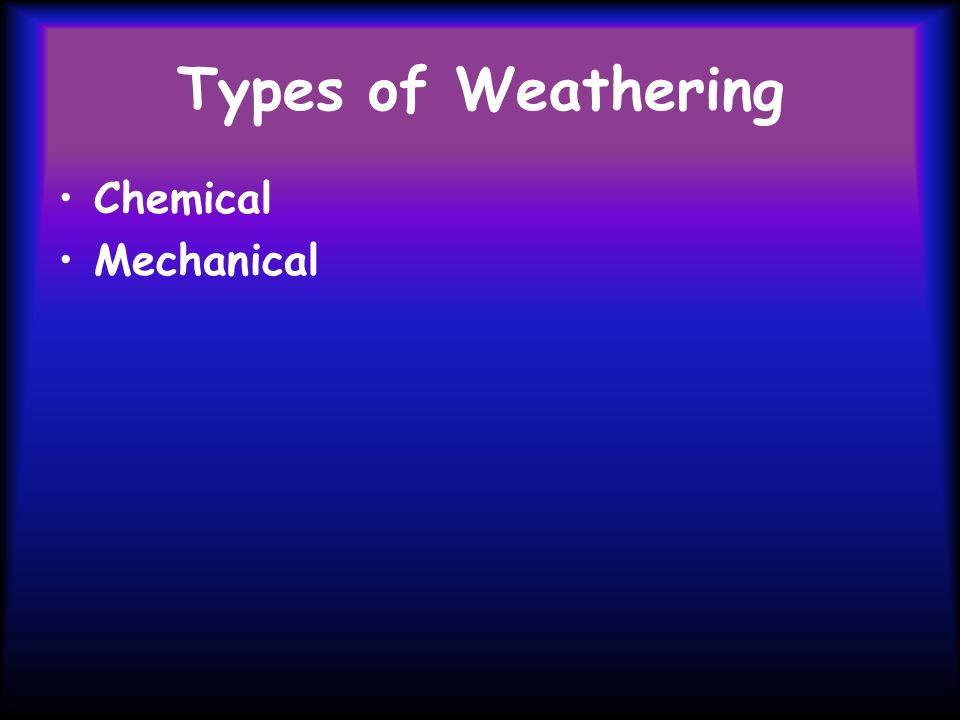 Types of Weathering Chemical Mechanical