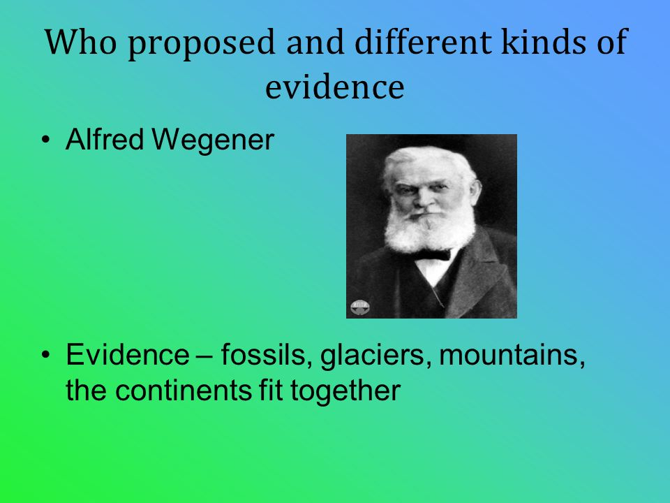 Who proposed and different kinds of evidence