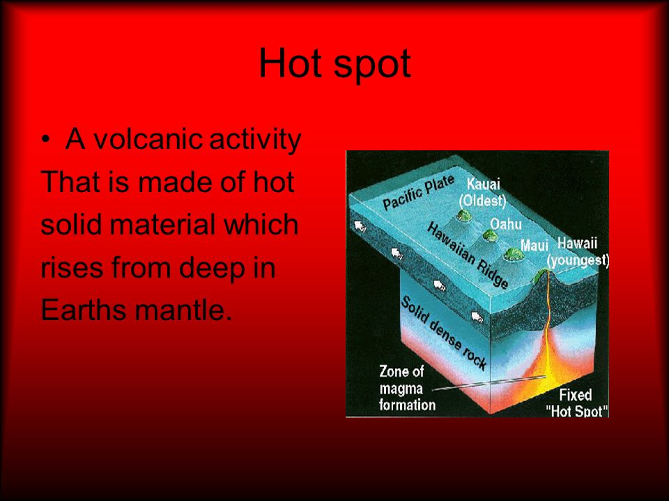 Hot spot A volcanic activity That is made of hot solid material which