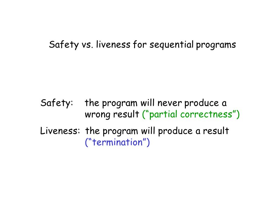 Safety vs. liveness for sequential programs