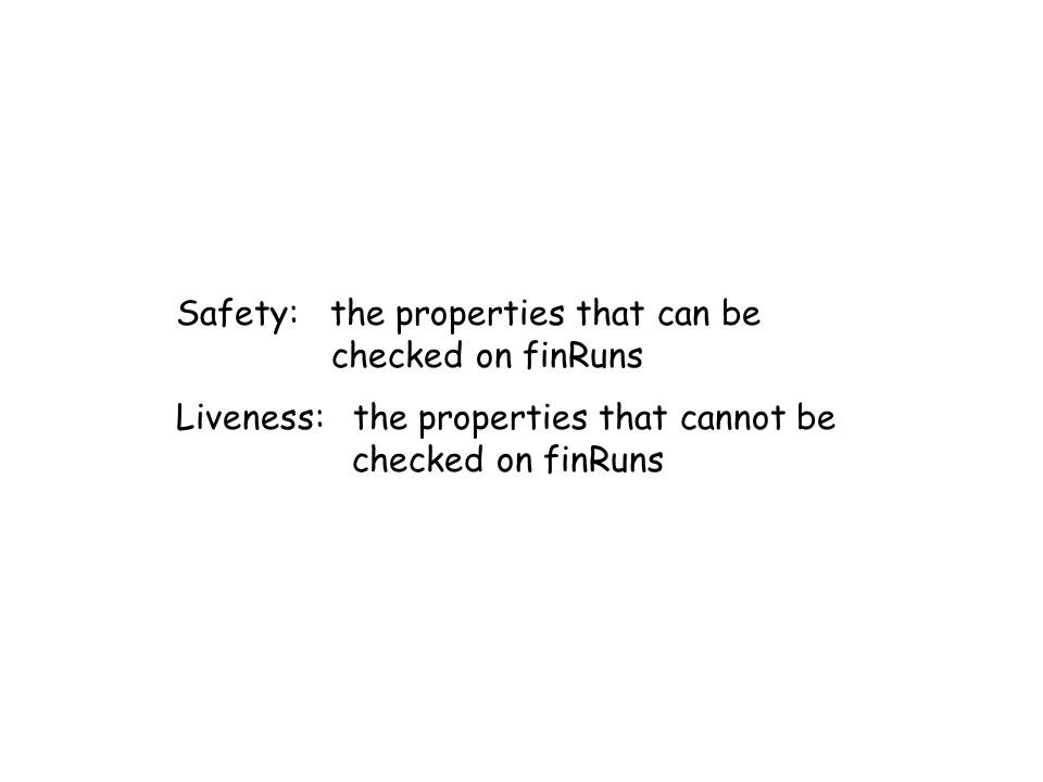 Safety: the properties that can be checked on finRuns