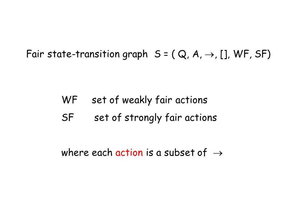 Fair state-transition graph S = ( Q, A, , [], WF, SF)
