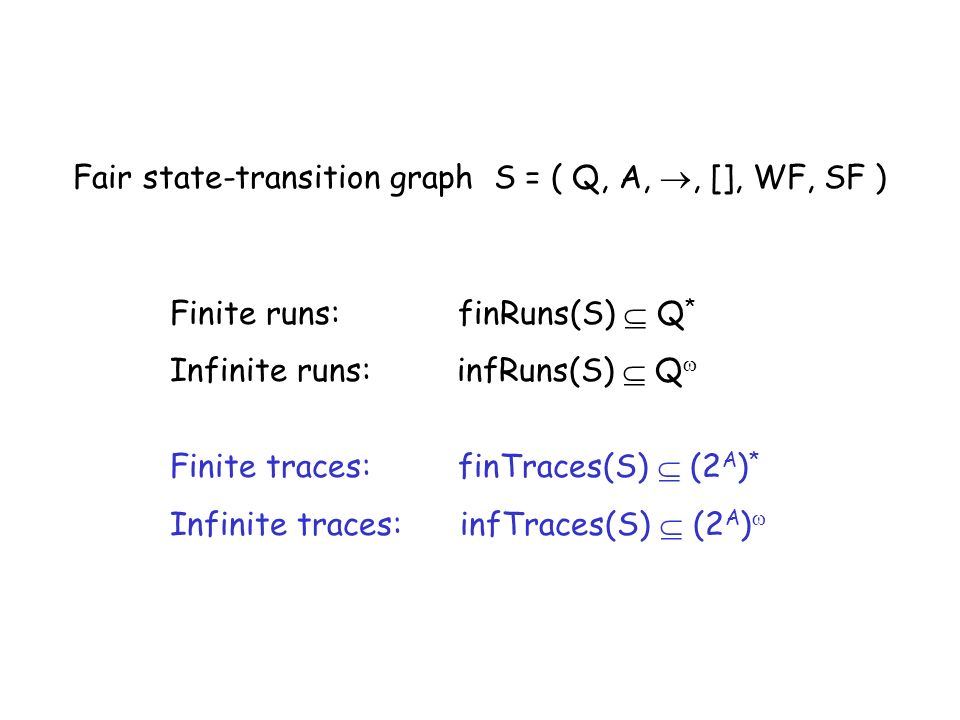 Fair state-transition graph S = ( Q, A, , [], WF, SF )