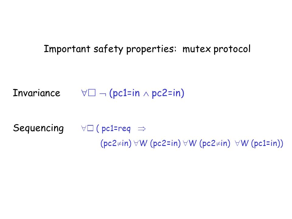 Important safety properties: mutex protocol