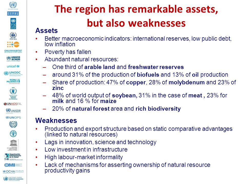 The region has remarkable assets, but also weaknesses