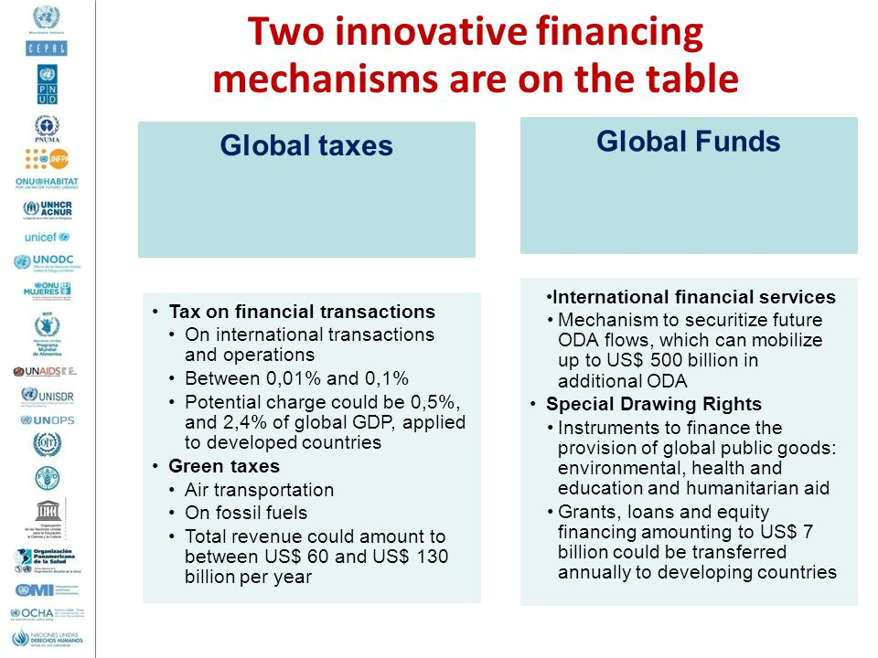 Two innovative financing mechanisms are on the table