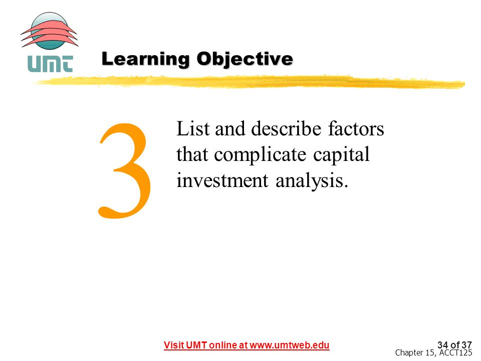 Learning Objective 3 List and describe factors that complicate capital investment analysis.