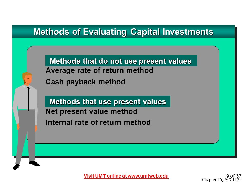 Methods of Evaluating Capital Investments