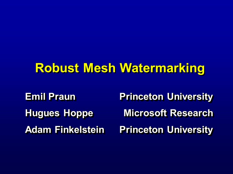 Robust Mesh Watermarking