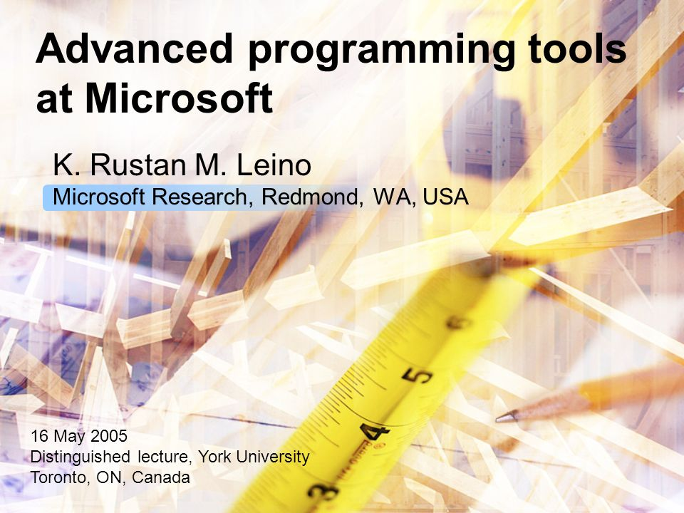 Advanced programming tools at Microsoft