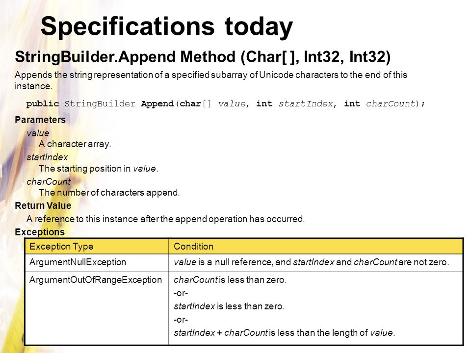 Specifications today StringBuilder.Append Method (Char[ ], Int32, Int32)