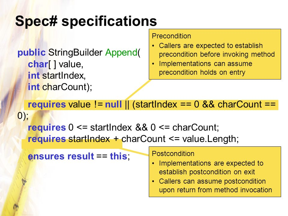 Spec# specifications Precondition. Callers are expected to establish precondition before invoking method.