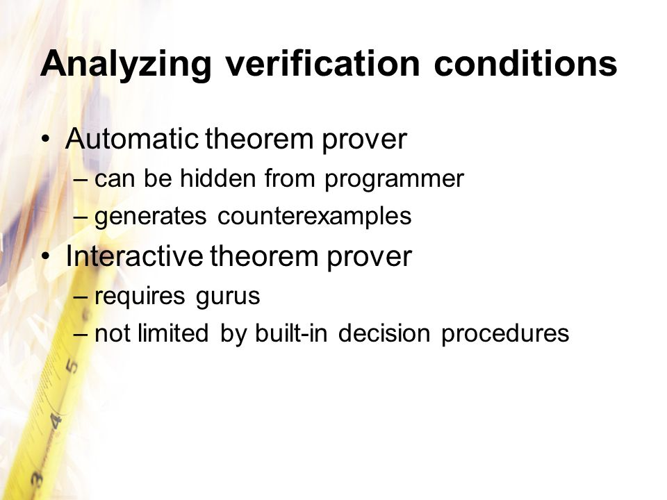Analyzing verification conditions