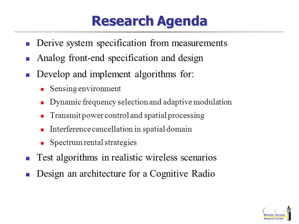 Research Agenda Derive system specification from measurements