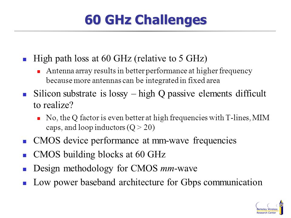 60 GHz Challenges High path loss at 60 GHz (relative to 5 GHz)