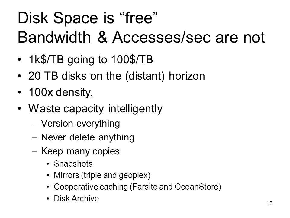 Disk Space is free Bandwidth & Accesses/sec are not