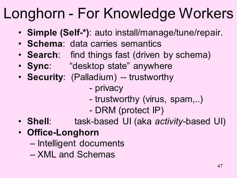 Longhorn - For Knowledge Workers