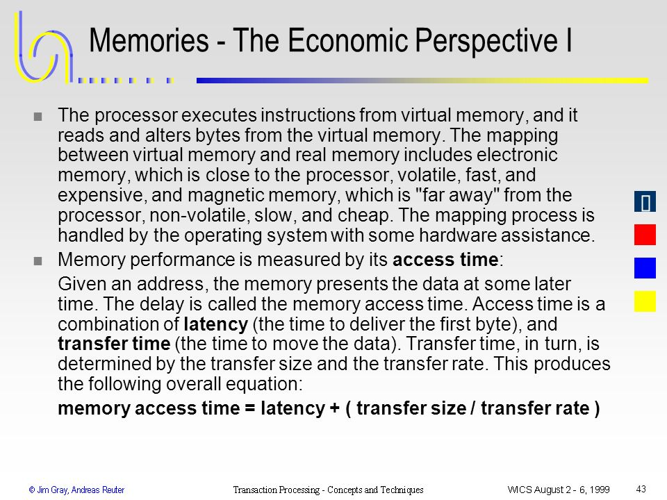 Memories - The Economic Perspective I