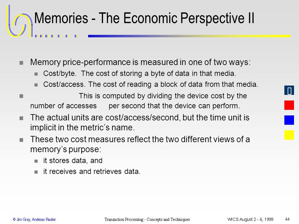 Memories - The Economic Perspective II
