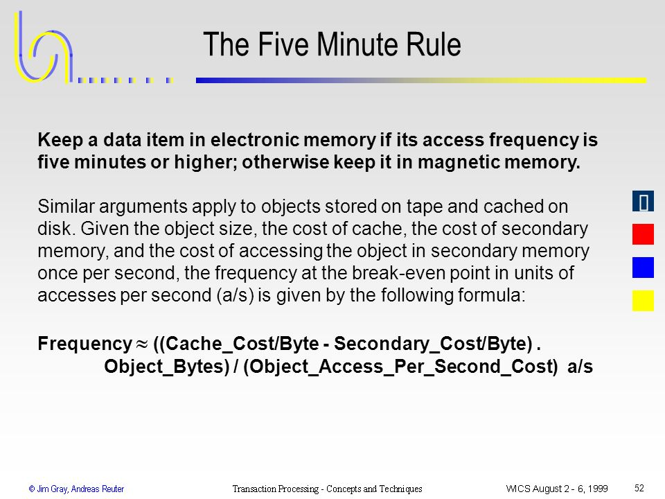 The Five Minute Rule Keep a data item in electronic memory if its access frequency is five minutes or higher; otherwise keep it in magnetic memory.