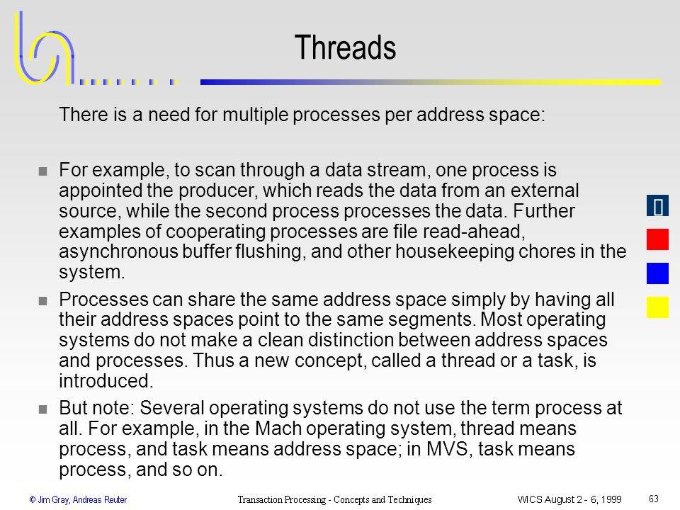 Threads There is a need for multiple processes per address space:
