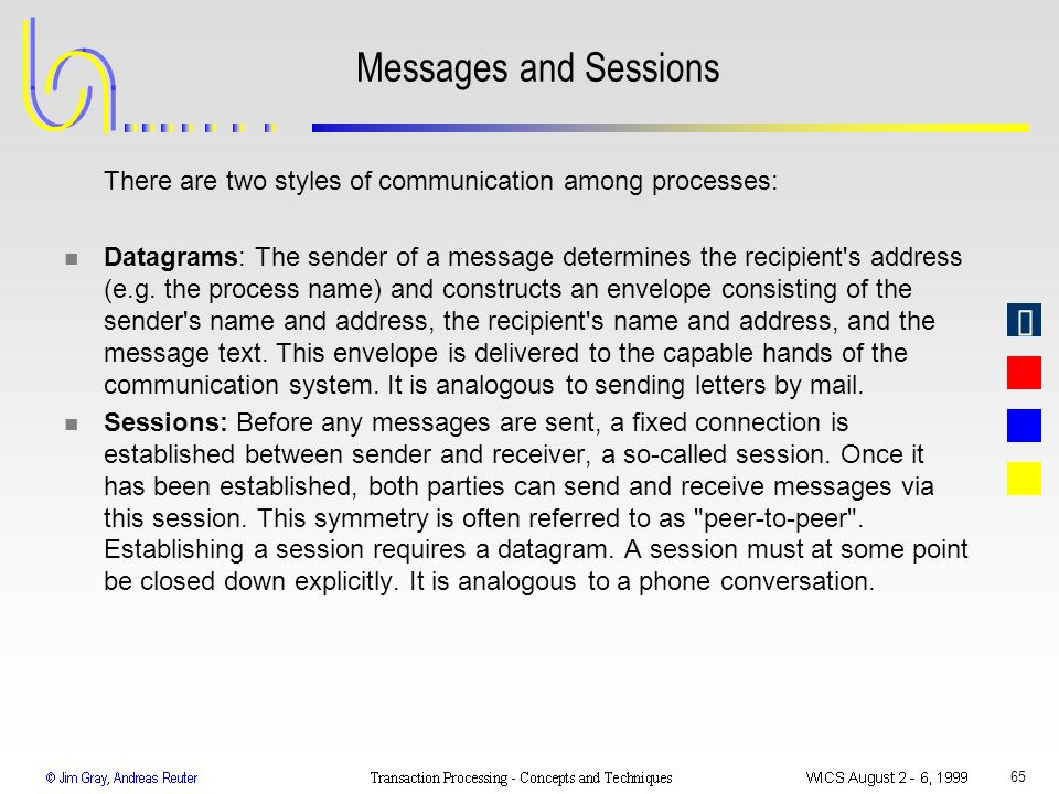 Messages and Sessions There are two styles of communication among processes: