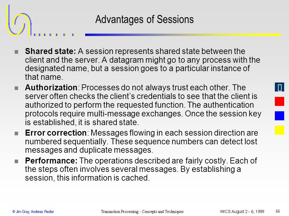 Advantages of Sessions