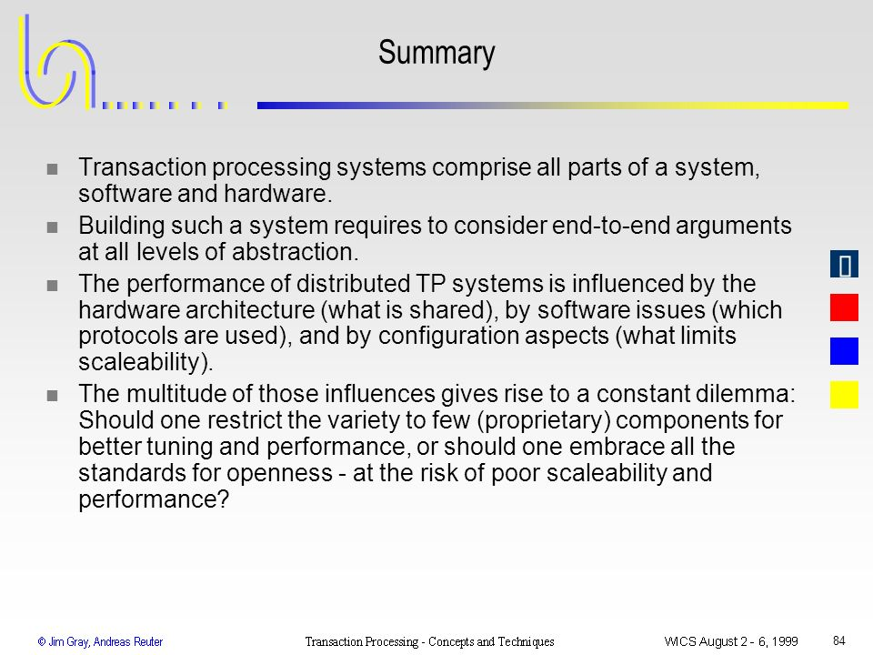 Summary Transaction processing systems comprise all parts of a system, software and hardware.