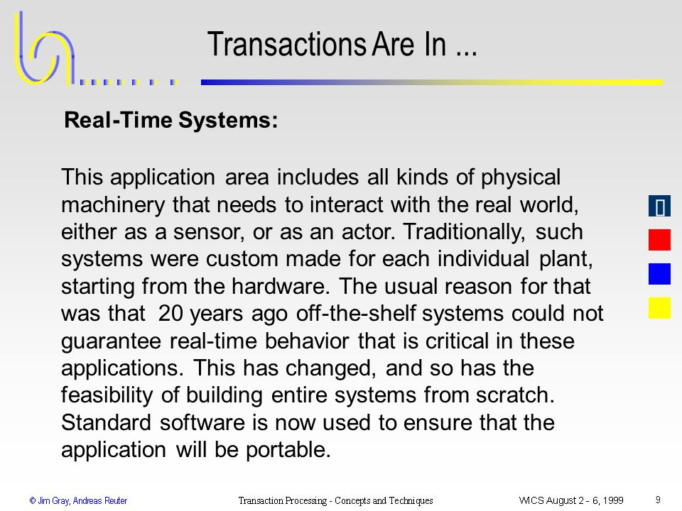Transactions Are In ... Real-Time Systems: