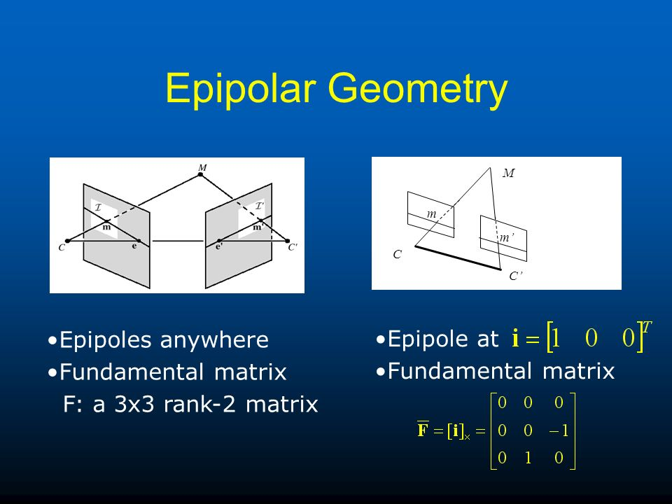 Epipolar Geometry Epipoles anywhere Epipole at Fundamental matrix