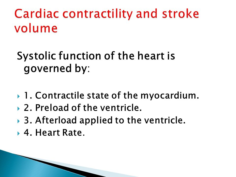 Cardiac contractility and stroke volume
