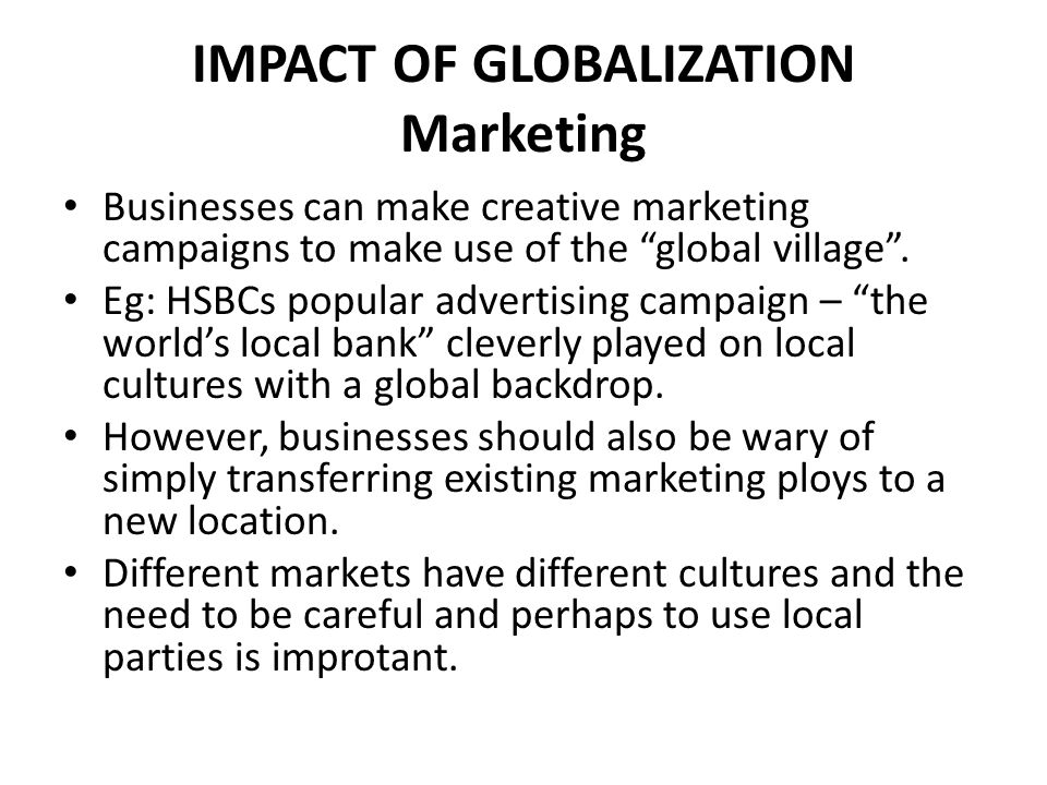 globalization and marketing
