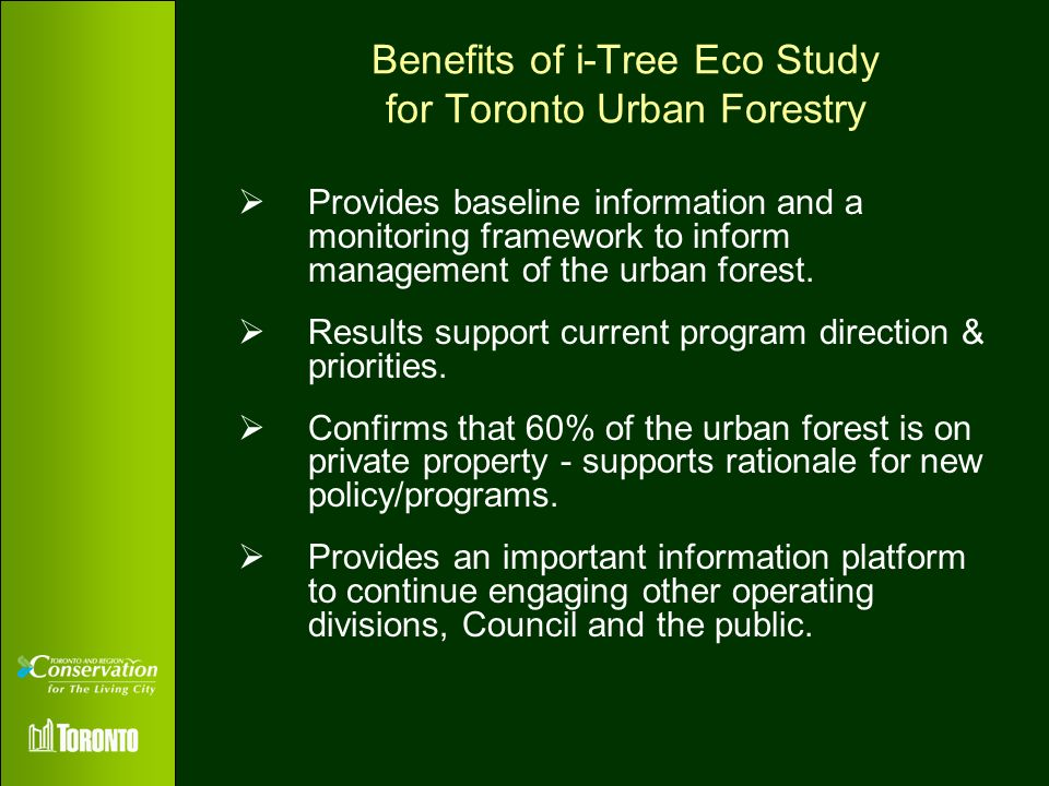 Benefits of i-Tree Eco Study for Toronto Urban Forestry