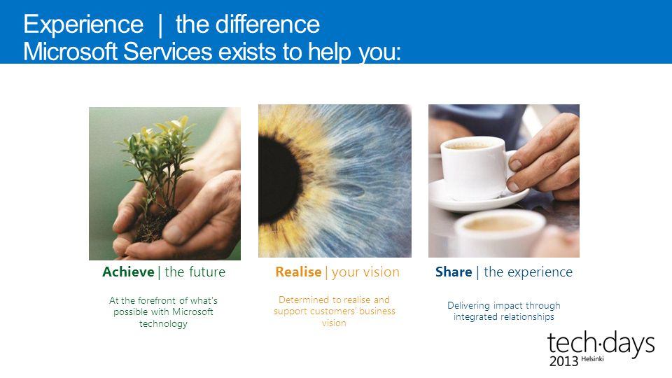 Experience | the difference Microsoft Services exists to help you: