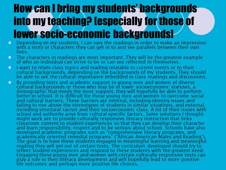 How can I bring my students' backgrounds into my teaching
