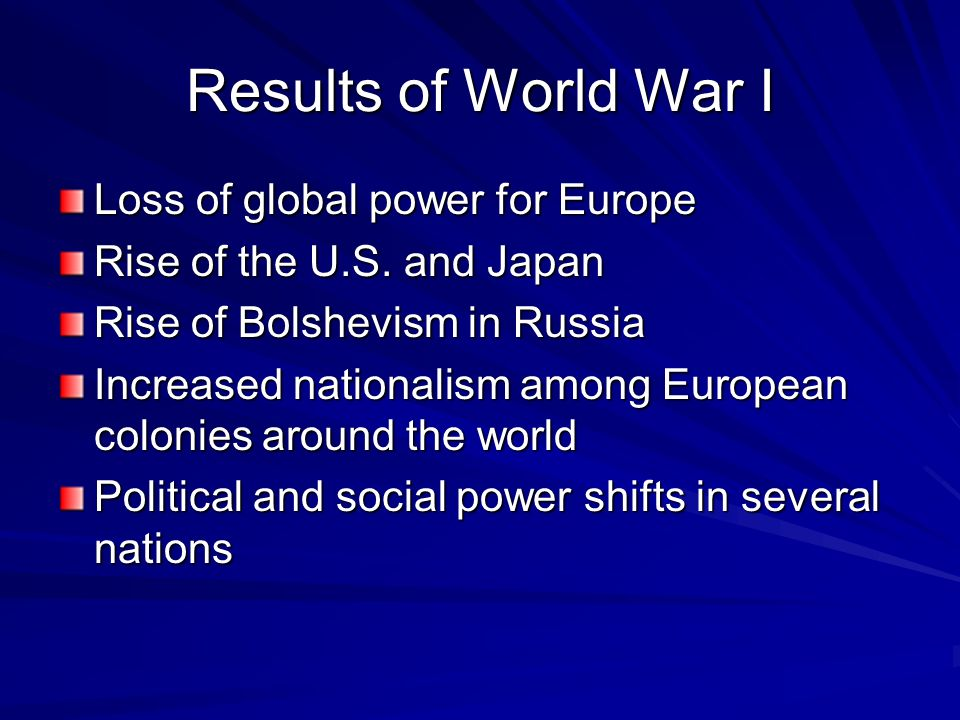 Results of World War I Loss of global power for Europe